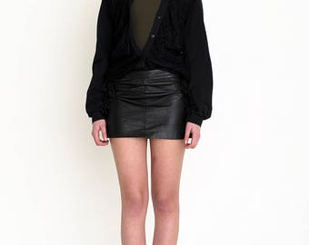 VINTAGE Black Leather Bottom Retro Skirt