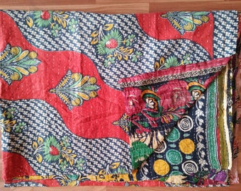 Artisan Handmade Vintage Kantha Quilts Reversible Vintage Kantha Throw Bedspread Indian Cotton Sari Bed Cover