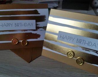 Handmade birthday card / white and gold metallic