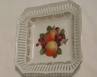 Sweet Vintage Porcelain Square Plate with Fruit Motif and Retriculated Border