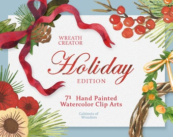 Holiday Wreath Watercolor Clipart Flowers Floral Bouquets Wreaths Digital Floral Wedding Invitation