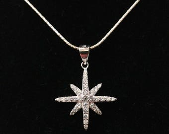 Sparkling Sterling Silver Star pendant inlaid with cubic Zirconia crystals CZ, and  Sterling Silver necklace