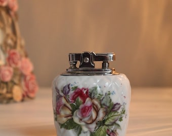 Porcelain Table Lighter Vintage Unique Floral Design Lighter Antique Piece