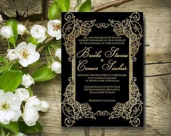 Classic Wedding Invitation, Gold and Black, Cream and Black