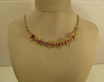 Vintage Beautiful TAYLORMADE multi~colored Rhinestone Necklace 1950's