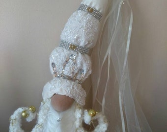 Beautiful Princess NosieElla Gnome with beads tiara Handmade