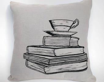 Books and Tea Cushion Cover