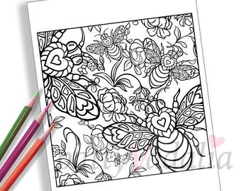 Bee. Flowers. Valentine. Coloring. Coloring Page. Adult Coloring Pages. Coloring Pages for Kids and Adults. Printables. Instant Download.