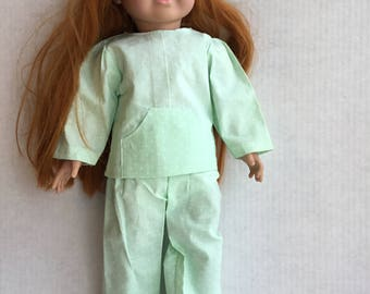 "2 piece Cotton pajamas for 18""doll such as American girl."