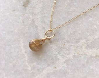 16 inch rutilated gold quartz necklace,gold quartz dangle,Xmas present,dainty chain,gift for her, minimalist jewelry, gold fill necklace