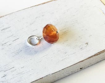 Carnelian pendant,14kt gold filled, faceted orange pendant, carnelian dangle, carnelian,carnelian drop, carnelian charm, gift for her