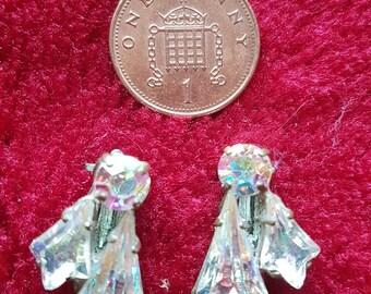 Original Vintage crystal clip on earrings