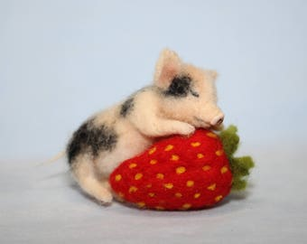Needle Felted  miniature sculpture pig on strawberry handmade gift