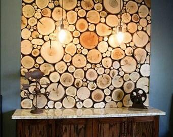 Log Wall Kit -  Natural Wood  - Custom Variety - Rustic Wood Log Stack Illusion - Kitchen / Living Decor - Bar Decor