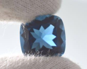 11.65 CT NATURAL A++ QUALITY London Blue Topaz 13MM Cushion Cut Loose Gemstone