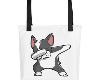 Funny Dabbing Boston Terrier Tote bag, Cute Boston Terrier Dog bag