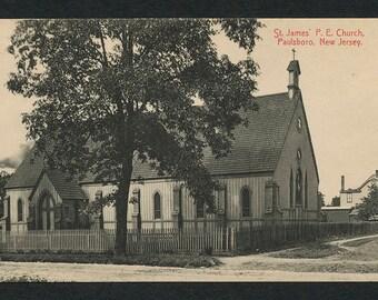 Paulsboro, N J Postcard - Vintage Black and White Postcard of St James' P E Church