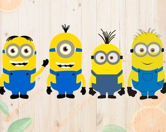 Minions Svg, Despicable me Dxf, Eps & Png Cutfiles, Minions cut files for Cricut, Silhouette cameo, Layered Minions Svg, Minions Clipart.