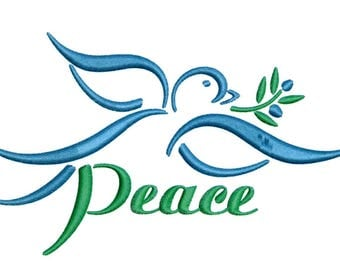 Embroidery Design Dove Peace Dove Bird Dove with Olive Branch
