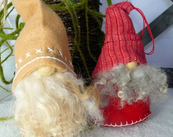 Handmade Scandinavian/Nordic Gnome/Tomte/Nisse Ornaments (2 EACH)