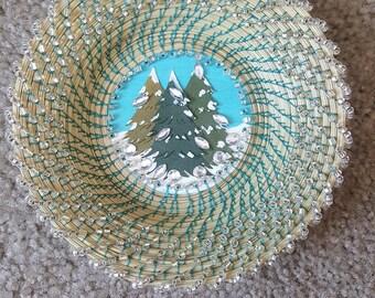 Handmade Seagrass Christmas themed basket