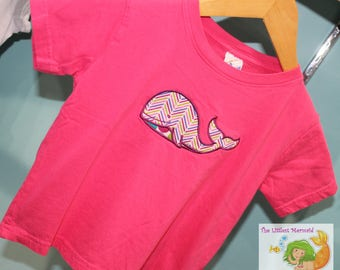 Pink Whale T-shirt Size 3 // Girls T-shirt // Whale Applique Shirt // Pink T-shirt // Whale Shirt