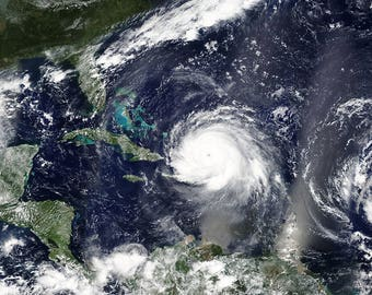 Instant Downloadable Satellite Image of 3 hurricanes Irma, Jose and Katia in the Caribbean Sea - Elements of this image furnished by NASA