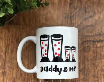 Red welly boot etsy daddy me wellington boot family coffee tea mug new design series daddy negle Choice Image