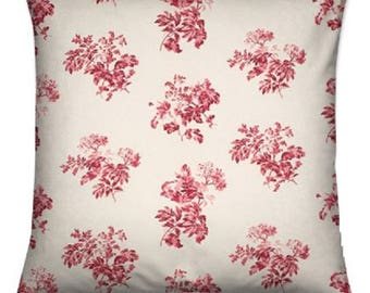 cushion cover made with laura ashley bramble cranberry fabric red white