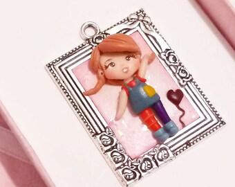 Pippi longstocking necklace, cartoons, cartoon, Fimo, Polymer clay