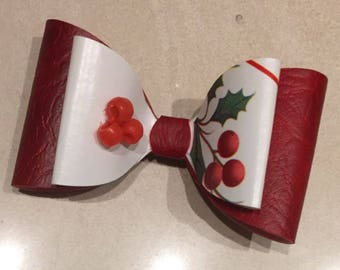 Christmas holly Bow(Red/White)