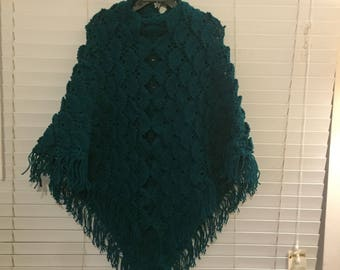 Hand Knitted  Turquoise Shawl