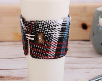 Coffee Cozy Sleeve - Black white blue red plaid / reusable coffee sleeve