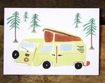 Postcard-camper, greeting card, colorful, bus