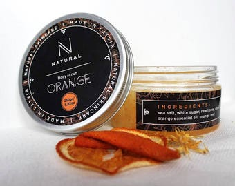 N A T U R A L | body scrub with sweet orange flavor | handmade | gift for mom | Christmas gift