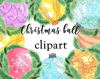 Christmas balls clip art, watercolor clipart, winter clipart, Christmas invitation,Christmas clipart,