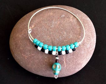 Turquoise Skull Bracelet, Day of the Dead, Dos Muertos jewelry, Sugar skull bracelet, Men's skull bracelet, Unisex skull jewelry, Halloween
