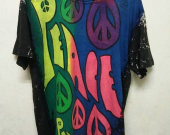 RARE!! Vintage Acid Wash Peace English Indie Rock Band Worcester