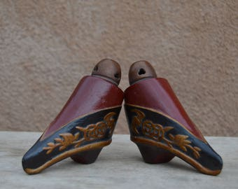 Pair of vintage Chinese incense holders, styled as Lotus shoes.  Carved wood, painted.  Tops remove for incense