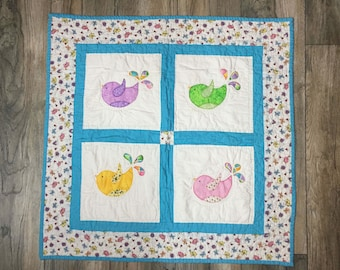 Baby Blanket 100% handmade cotton/patchwork/applique