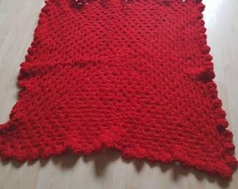 "Crochet red baby blanket 34""x34"""