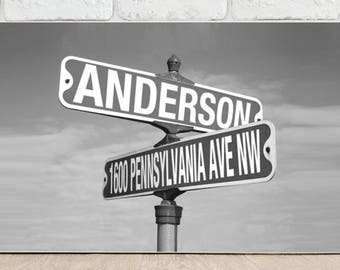 Personalized Street Sign Canvas - Street Sign Canvas Print - Personalized Family Prints - Family Wall Decor - Black and White Prints