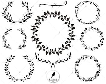Leaf wreath svg, wreath clipart, laurels svg, leaves svg, monogram circle svg, cricut silhouette – eps, dxf, png, pdf, svg – digital files