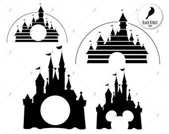 Disney castle svg, disney castle clipart, disney palace svg, monogram frame svg, cricut silhouette – eps, dxf, png, pdf, svg – digital files