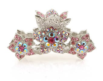 Gold Plated Diamond crown Rhinestone pink silver Metal Hair Crystal Claw Bridal