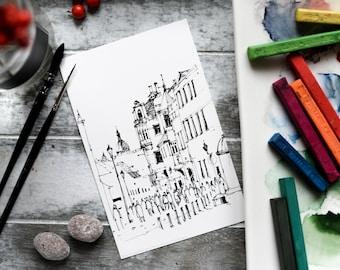 "Set of 20 Watercolor Coloring Post Cards, coloring pages, coloring book, Christmas gift - ""Pilies gatve, Vilnius oldtown. Vilnius"""