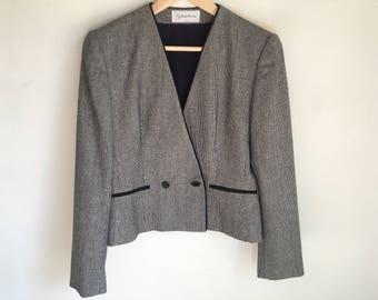 Vintage houndstooth Jacket - Short Jacket - Wool Blazer - Size S/M