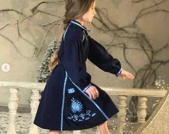 Girl's Vyshyvanka Dress Boho Ukrainian Embroidery Ukraine Dresses Custom boho clothing Blue Linen Vishivanka Bohemian Clothing Gift
