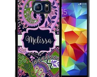Personalized Rubber Case For Samsung S5, S6, S6 edge, S6 Edge Plus, S7, S7 Edge,  8, 8 plus -  Purple Green Paisley