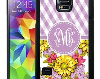 Monogrammed Rubber Case For Samsung S5, S6, S6 edge, S6 Edge Plus, S7, S7 Edge,  8, 8 plus - Purple Plaid Flowers